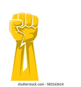 orange clenched fist icon . vector freedom,  protest or revolution concept background.