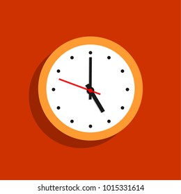 Orange clock hanging on a wall. Vector illustration in flat style.