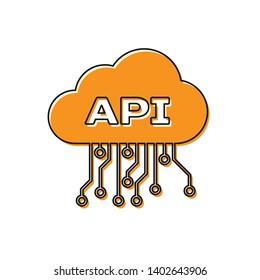 Orange Cloud api interface icon isolated on white background. Application programming interface API technology. Software integration. Vector Illustration