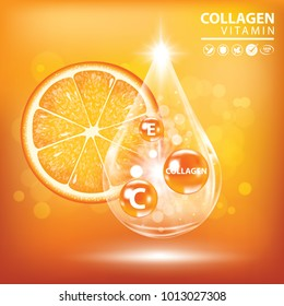 Orange collagen vitamin droplet banner vector illustration