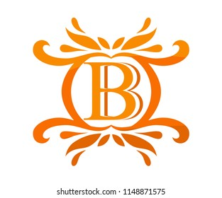 orange color beautiful luxury classic vintage swirl or floral border logo design template with initial name of business company on it type letter b