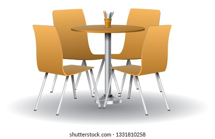 Orange color Modern round table with chairs. Vector illustration.