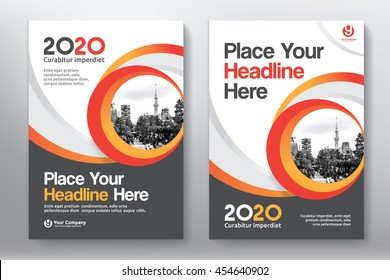 Orange Color Scheme with City Background Business Book Cover Design Template in A4. Can be adapt to Brochure, Annual Report, Magazine,Poster, Corporate Presentation, Portfolio, Flyer, Banner, Website