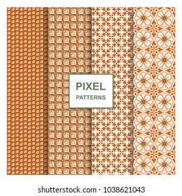 Orange color seamless pixel art