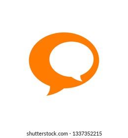 Orange color speech bubble vector icon