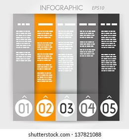 orange column infographic five options in rings. infographic concept.