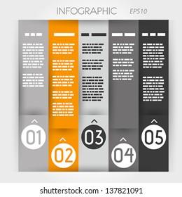 orange column infographic five options in rings zig zag. infographic concept.