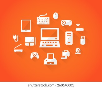 Orange computers device icons. Vector pictograms