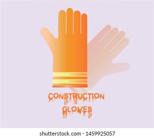Orange construction rubber gloves with reflector