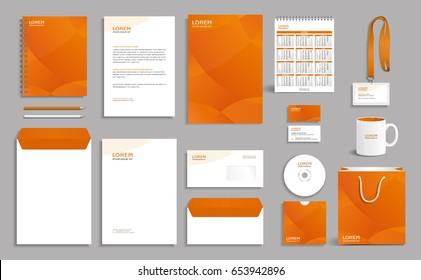 Orange corporate identity design template