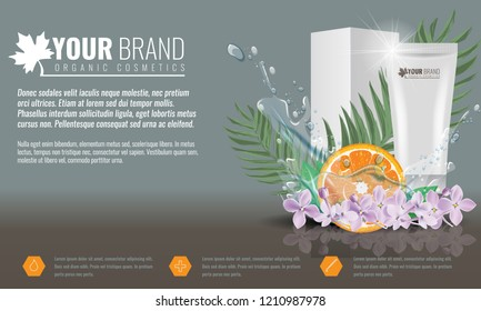 Orange Cosmetics product ads poster template with Water splash. Cream tube package with flowers and palm leaf. Vector illustration.