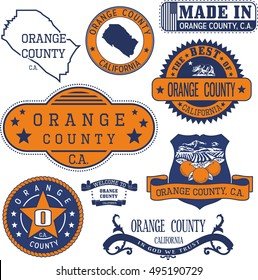Orange county, California. Set of generic stamps and signs including Orange county map and seal elements.