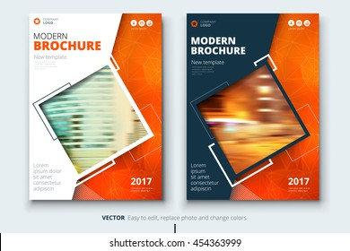 Orange cover design for Annual Report, Catalog or Magazine, Book or Brochure, Booklet or flyer.  Corporate business template in A4 size. Flat creative concept in bright colors. Vector Illustration