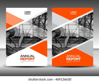 Orange Cover template, annual report, business brochure flyer, magazine covers, presentation