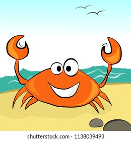 Orange crab with a smile in the afternoon on the sandy beach.