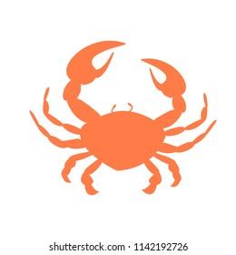 Orange crab vector silhouette on white background