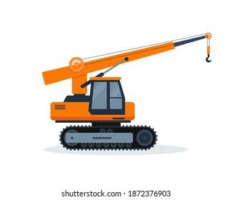 Orange crane truck isolated on white background