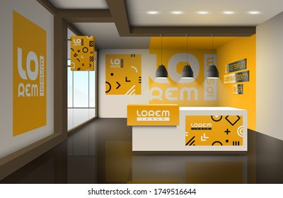 Orange Creative office design with geometric pattern. Elements of interior advertising. Corporate identity