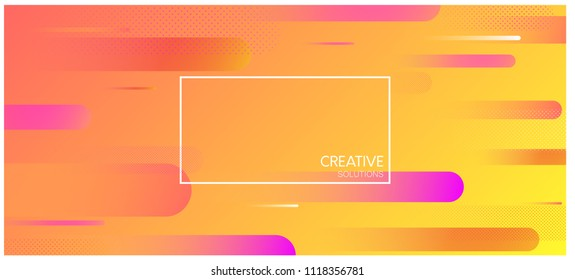 Orange creative solutions background with frame and abstract geometric pattern. Vector illustration.