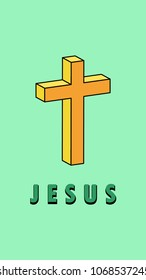 "orange cross with word ""jesus"" on colorful background , size 1920x1080"