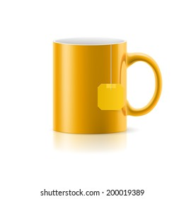 Orange cup with tea bag label from standing on white background