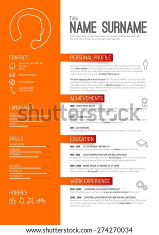 orange curriculum vitae layout template stock vector royalty free