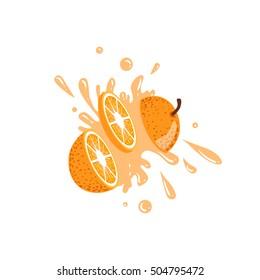 Orange Cut In The Air Splashing The Juice