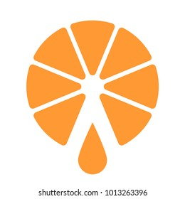Orange cut in half, one drop of juice falling down. Concept of quality and freshness, fruit company logo, healthy lifestyle icon. Abstract vector illustration, ESP 8