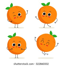 Orange. Cute fruit vector character set isolated on white