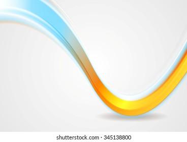 Orange and cyan iridescent wave design. Vector background