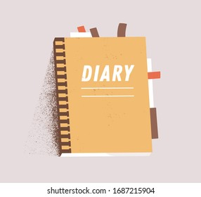 Orange daily paper notepad isolated on white background. Cartoon personal diary planner vector flat illustration. Colorful organizer page journal with sticker and bookmark
