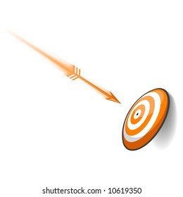 An orange dart speeding toward its target. Meant to be a concept in goal planning.