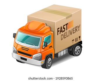 Orange delivery truck. Vector Illustration.