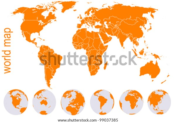 Orange detailed world map with Earth globes