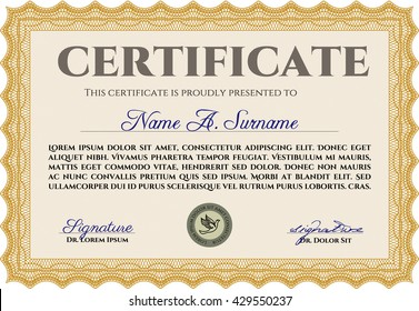 Orange Diploma or certificate template. Complex background. Vector pattern that is used in currency and diplomas.Superior design.