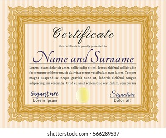 Orange Diploma. Customizable, Easy to edit and change colors. With linear background. Cordial design.