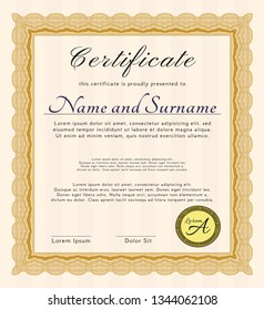 Orange Diploma. Detailed. With quality background. Artistry design.