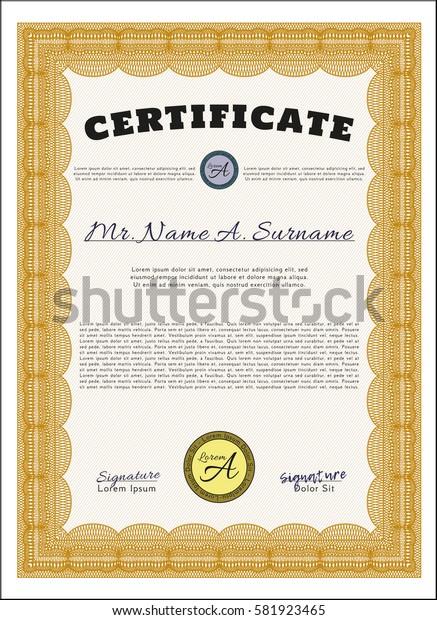 Orange Diploma template or certificate template. Artistry design. Vector illustration. Printer friendly.