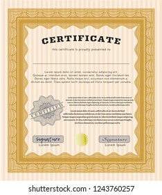 Orange Diploma template or certificate template. Detailed. With guilloche pattern. Superior design.