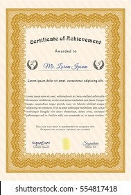 Orange Diploma template or certificate template. Easy to print. Nice design. Customizable, Easy to edit and change colors.