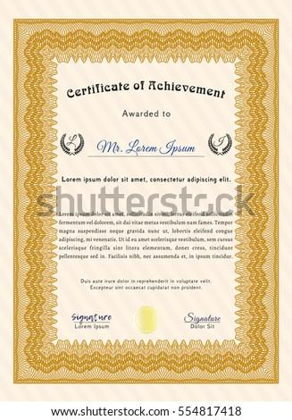 Orange Diploma Template Certificate Template Easy Stock Vector