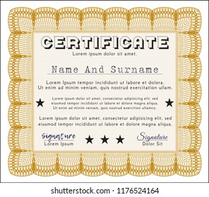 Orange Diploma template or certificate template. With linear background. Cordial design. Customizable, Easy to edit and change colors.