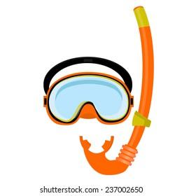 Orange diving mask, diving tube, swimming equipment, snorkeling