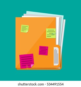 Orange documents folder with paper sheets and sticky notes. Vector illustration in flat style