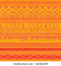 Orange Ethnic pattern vector hand drawn elements. Vector tribal ornament