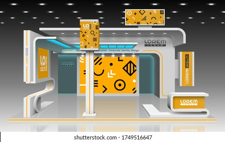 Orange exhibition stand design with geometric pattern. Booth template. Corporate identity