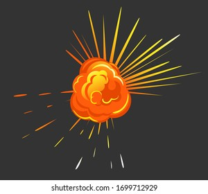 Orange explosion with cloud of dust. Impact of asteroid or meteorite, big bang in motion with fire. Isolated burst in space, bright and radial bursting with smoke. Vector illustration in flat style