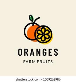 Orange farm fruits logo icon vector template illustration