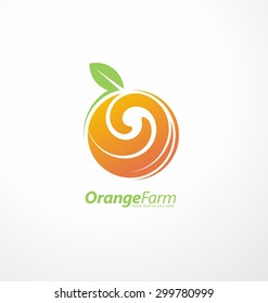 Orange farm logo design concept. Fruit and juice icon theme. Organic and healthy food unique symbol with swirl shape.