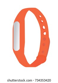 Orange fitness bracelet vector illustration.